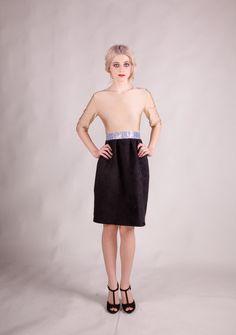MaryJane Dress - Two tone dress with printed leather bord. €115.00, via Etsy. By Amanda Duran