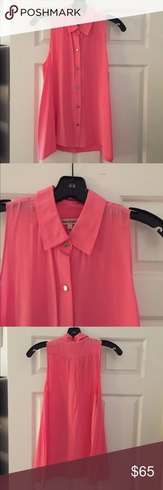 Juicy hot pink silk top Juicy couture hot pink sleeveless top with collar and gold buttons. Perfect condition. Only worn once and dry cleaned. Juicy Couture Tops Blouses
