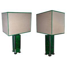 1960s Malachite Lamps