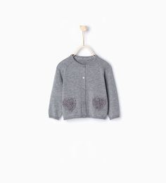 Knit heart cardigan-Cardigans and Sweaters-Baby girl-Baby   3 months - 3 years-KIDS   ZARA Hungary