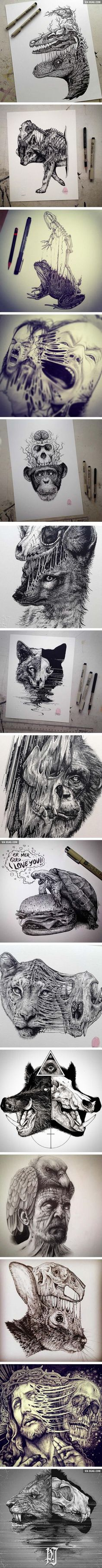 Animals Leave Their Skeletons Behind In These Stunning Dark Drawings (By Paul Jackson):