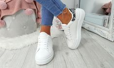 Platform Contrast Heel Trainers Lace Up Trainers, Leather And Lace, Party Wear, Contrast, Platform, Stylish, Casual, Shoes, Women