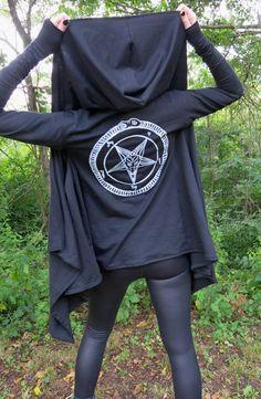 Black & White Pentagram Drape Hoodie by HellCouture on Etsy