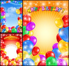 Happy Birthday backgrounds with balloons #vector #happybirthdaycard