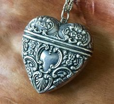 Victorian Repousse Sterling Heart Locket with Vintage