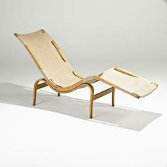 Bent Birch, Beech and Canvas 'Pernilla' Chaise Longue for Karl Mathsson,