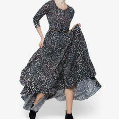 Gourgous Free People Maxi Dress Color: black combo, some pink 100% Rayon Machine washable Free People Dresses Maxi