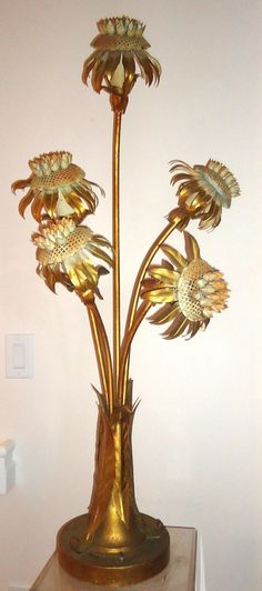 Tall Maison Jansen Flower lamp Mid century modern by VistazoDesign