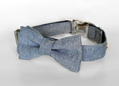 Chambray Bow Tie Dog Collar by TheRoverBoutique on Etsy