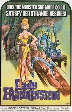 Lady Frankenstein (La Figlia di Frankenstein, aka Daughter of Frankenstein) Italy) movie poster Classic Movie Posters, Classic Horror Movies, Movie Poster Art, Retro Posters, Scary Movies, Old Movies, Vintage Movies, Film Science Fiction, Fiction Movies