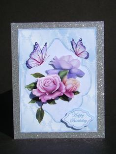 Belle Epoque roses on blue brocade on Craftsuprint designed by Carol Dunne - made by beverly carmichael - Printed on to good quality glossy photo paper. Cut out all pieces. Attached main piece to a silver glitter card base. Attached other pieces using foam pads. - Now available for download!