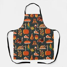 Thanksgiving Happy Turkey Day pattern gift Apron