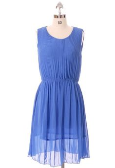 Blue Pleated Chiffon Sleeveless Dress - This color is good on everyone! #chicwish