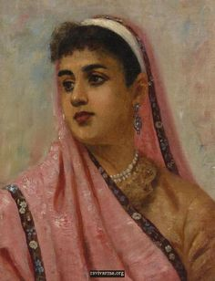 Portrait of a Parsee Lady, an oil painting on canvas by Raja Ravi Varma depicts a Parsi woman clad in the traditional costumes Modern Indian Art, Indian Folk Art, Indian Artist, Ravivarma Paintings, Indian Paintings, Painting Portraits, Raja Ravi Varma, Southeast Asian Arts, Non Blondes