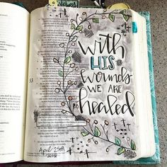 Bible Journaling by Stephanie Middaugh @stephmiddaugh | Isaiah 53:5