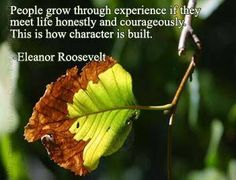 People grow thought experince if they meet life honestly and courageously.This is how character is built. Eleanor Roosevelt