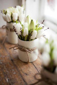 Décoration printemps avec des tulipes