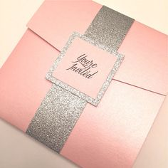 Pink Wedding Invitation Pink and Silver by Lovelytations on Etsy