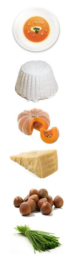 Crema di zucca con nocciole tostate e ricottino mantecato. Per preparare la crema di zucca,bisogna lessarla in acqua salata e, quando è cotta, passarla al mixer fino ad ottenere una crema. Tritare le nocciole e l'erba cipollina, unire alla ricotta e al parmigiano...http://www.fruttaebacche.it/crema-di-zucca-nocciole-tostate/ #cremadizucca #nocciole #parmesancheese #recipes