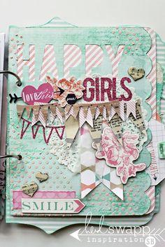 Happy girls are the prettiest! #hsloveyourselfie art journal by Sarah Bargo #heidiswapp #heidiswapphellotoday