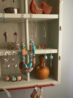 Cottage Chic Jewelry Organizer & Display - Repurposed from a wood Napa Valley Wine Rack Box