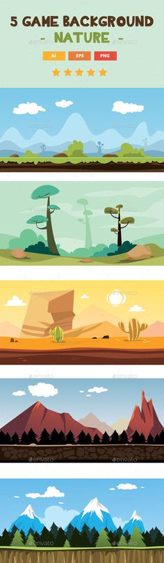 5 Nature Game Background - Backgrounds #Game Assets Download here: https://graphicriver.net/item/5-nature-game-background/16435472?ref=alena994