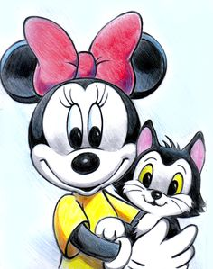 Minnie Mouse and Figaro by ~zdrer456