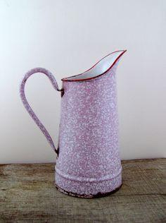 Vintage French enamel jug - pink jug - pink enamelware - pink graniteware - enamel pitcher - pink vase. $72.00, via Etsy.