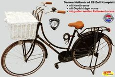 Hollandrad Damen 28 Zoll komplett mit großen Rattankorb weiß