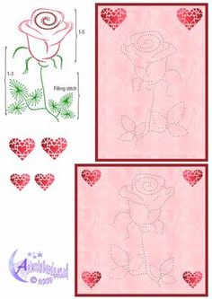 Single Rose on Craftsuprint designed by Diana Hutchinson - Stitch or prick pattern of a beautiful rose card front in two sizes. - Now available for download!