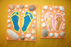 Tongs : empreintes de pieds à la plage! - Les Lutins Créatifs, bricolage pour enfants. Summer Crafts, Summer Fun, Toddler Art, Camping Crafts, New Years Eve Party, Babysitting, Childcare, Kids And Parenting, Activities For Kids
