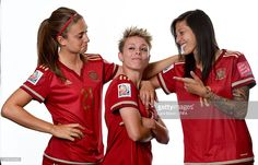 Alexia Putellas, Amanda Sampedro and Jennifer Hermoso of Spain pose during the FIFA Women's World Cup 2015 portrait session at Sheraton Le Centre on June 6, 2015 in Montreal, Canada.