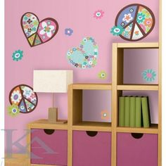 The Heart & Peace Sign Giant Peel & Stick Wall Decals are a great way to add groovy fun to your girl's room! Bright flowers and peace signs are an easy way to add flower power to any room Disney Wall Decals, Kids Wall Decals, Art Wall Kids, Bedroom Stickers, Wall Stickers, Do It Yourself Design, Hippy Room, Cartoon Wall, Peel And Stick Wallpaper