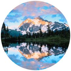 Mt Shuckson Reflected In Picture Lake, WA |Paul Moore Circle Wall Decal | WallsNeedLove