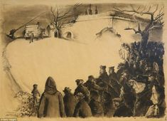 Nightmare: The curators of the exhibition praised the works as demonstrating the strength of the human spirit against adversity. Pictured, the artwork 'The Funeral' by Leo Haas, which he drew while an inmate at the Theresienstadt ghetto