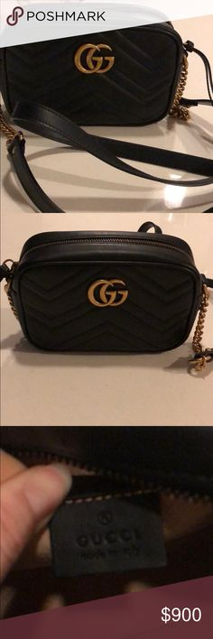 100% Authentic Gucci GG Marmont crossbody 100% authentic Gucci crossbody bag I bought this while in Europe and it's super cute! This color is sold out all over the internet so if you've been looking for this bag this is it!! :-)   The mini GG Marmont chain shoulder bag has a softly structured shape and a zip top closure with Double G hardware. The chain strap has a leather shoulder detail. Made in matelassé leather with a chevron design and GG on the back. Gucci Bags Crossbody Bags