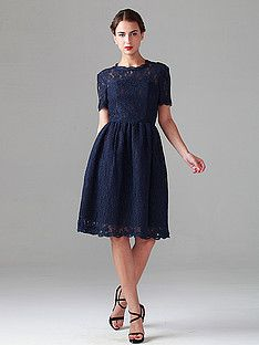 Two-tone Effect Short Lace Dress | Plus and Petite sizes available! Hundreds of styles, tons of colors!