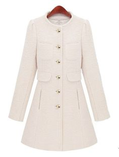White Long Sleeve Single Breasted Coat