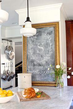 gorgeous monogram chalkboard sign via Holly Mathis Interiors