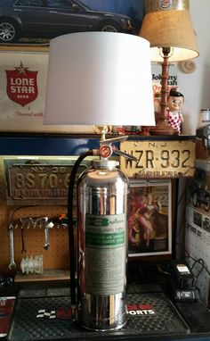 Upcycled fire extinguisher table lamp mancave firefighter themed