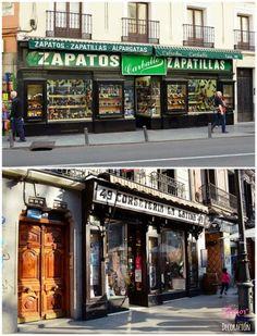 Comercios que conservan sus antiguas fachadas, en la zona de La Latina (Madrid) http://amorporladecoracion.blogspot.com.es/2014/03/desafio-fotografico-fachadas-comercios.html