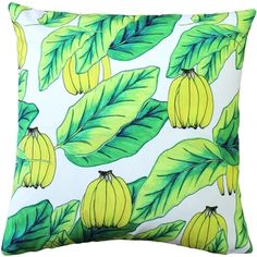 Banana Jungle is a fresh and tropical theme pillow in citrus greens and yellows. Created from an original Karalina Design illustration.