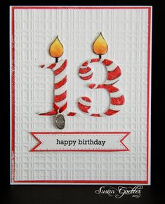 handmade birthday card by Susan Goetter: LIM64 - How Charming ... big die cut numbers with candle flames ... embossing folder texture ....