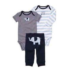 newborn elephant  boy Clothes | Carters Baby Boy Clothes 3 Piece Set Blue Elephant NB 3 6 9 12 18 24 ...