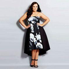 0689ef370c523 Strapless Asymmetrical Dress for  55 Vestidos Plus Size
