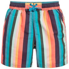 *NEW SUMMER'18 COLLECTION*  Colorful and cool Paul Smith swim shorts with iconic vertical stripe design. It has an elastic waistband and mesh lining. The swimwear is made from a soft quick drying fabric.  Iconic Striped Design Quick-Dry Comes in a Pouch Elastic Waistband Drawstrings Back Pocket 100% polyester