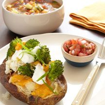 Points plus = 1 Loaded baked potato with bowl of vegetable soup