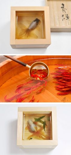 Painting on layers of resin to create 3 dimensional goldfish.  #painting #3D
