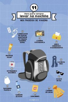 11 items to always pack in travel rides- 11 itens para sempre levar na mochila nos passeios de viagens 11 items to carry with you on your backpack during your travels - Travel Checklist, Travel Packing, Travel Tips, Walt Disney Orlando, Yogyakarta, Paradise Places, Au Pair, Vacation Deals, Eurotrip