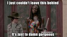 My love for Michonne grew immensely when she walked out with this cat.